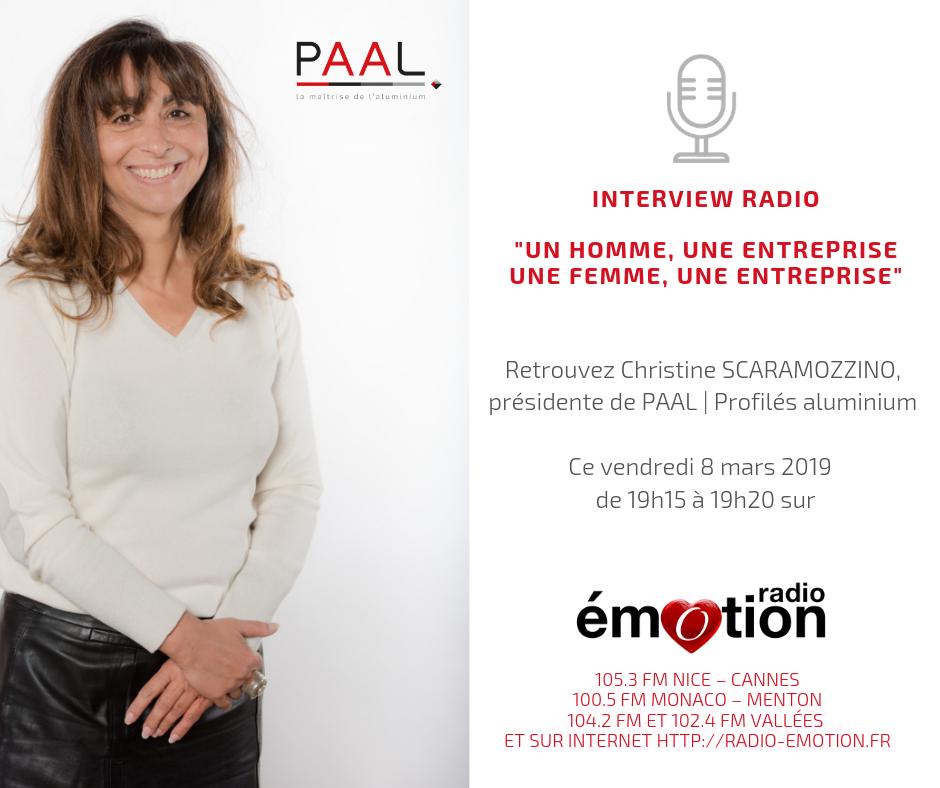 Interview Radio Emotion - Christine Scaramozzino PAAL profilés aluminium 2019