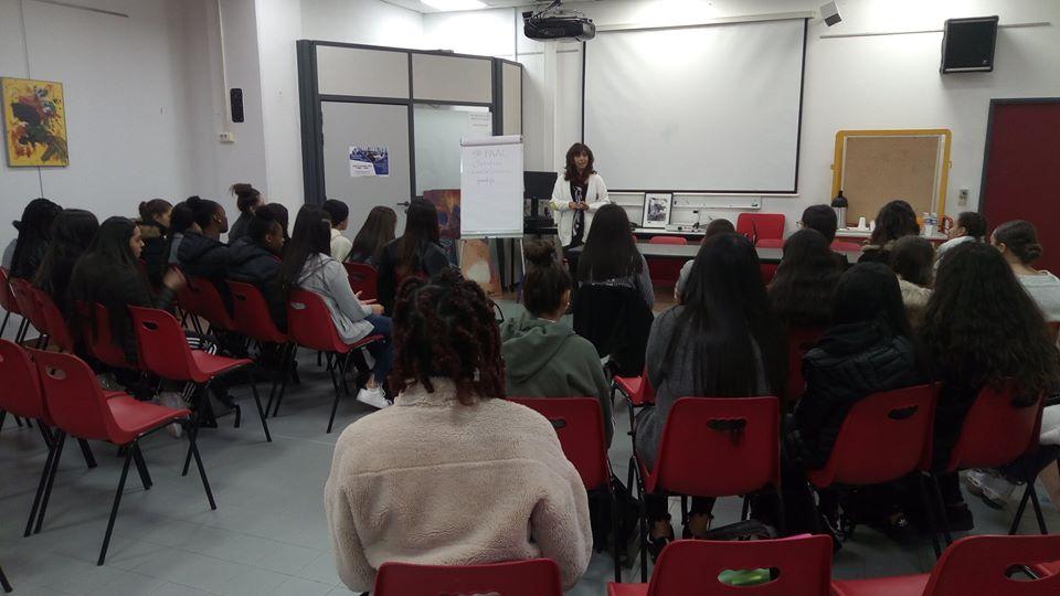 Christine SCARAMOZZINO, Présidente de PAAL, au Lycée Guillaume Apollinaire de Nice