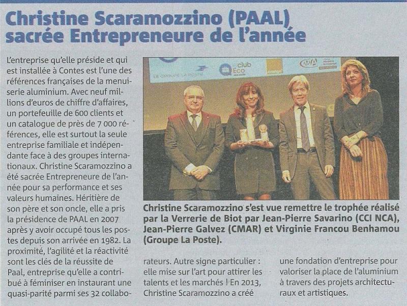 © Nice-Matin  édition du 10 décembre 2019  11e trophées de l'éco - Encadré PAAL Christine SCARAMOZZINO