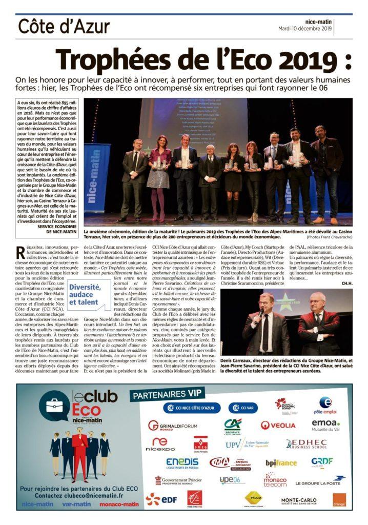 © Nice-Matin 10 décembre 2019 - Trophées de l'Eco