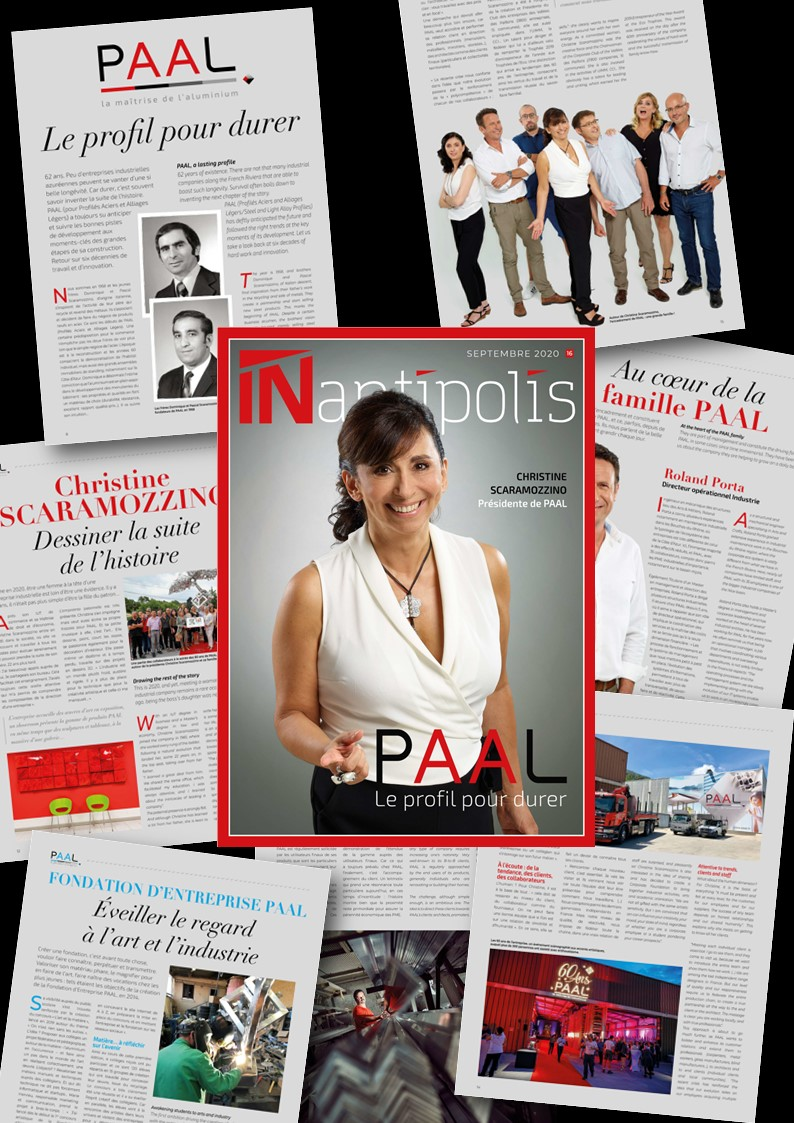 MEDIAS / Patchwork dossier PAAL profilés aluminium dans magazine IN ANTIPOLIS