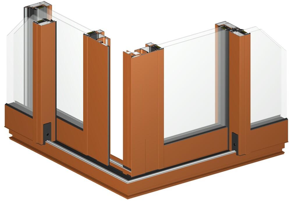 PAAL concepteur gammiste profilés aluminium - EYLINA 70C baie coulissante d'angle sans piliers maçonnés